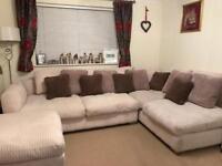 X-Large cream soft cord corner sofa & pouffe