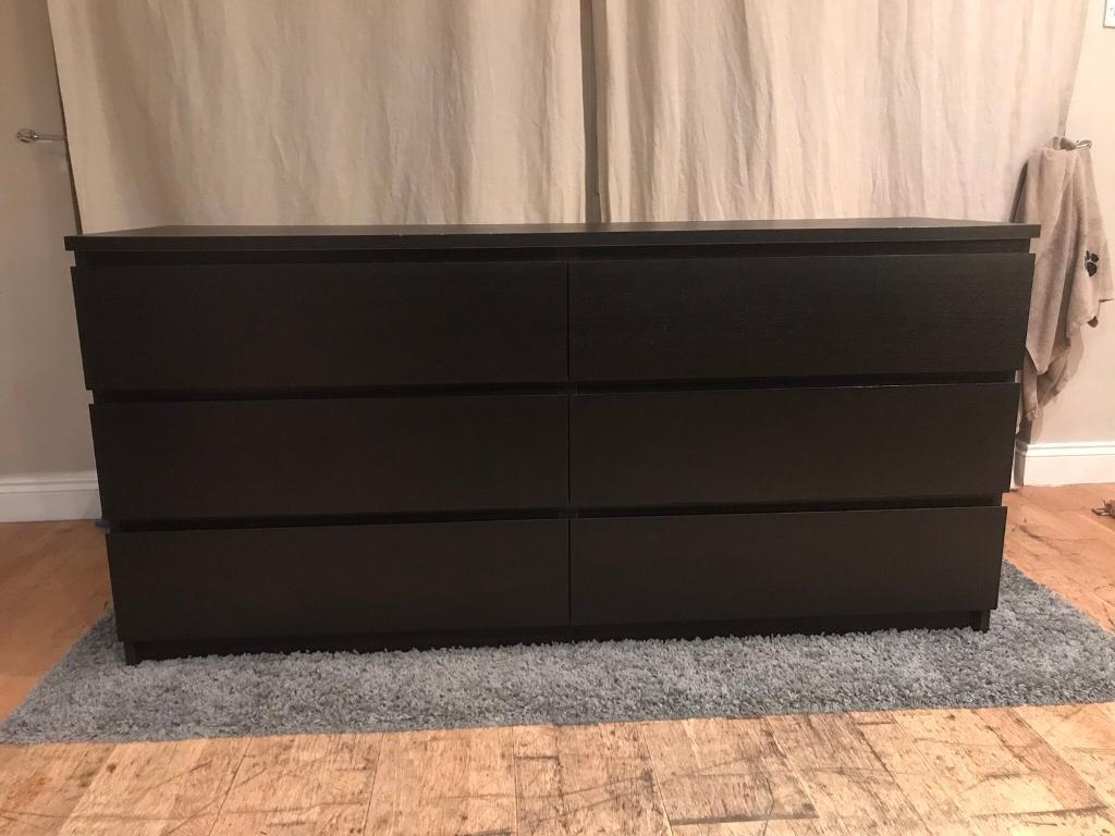 Ikea 6 Drawer Malm Chest Black Local Delivery Possible