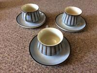 DENBY STUDIO STONEWARE : 3 X CUPS AND SAUCERS