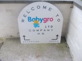 metal sign advertising the babygro factory in kirkcaldy in good condition
