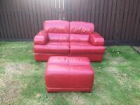 2 seater leather sofa and foot stool for sale