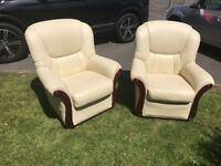 2 White Leather 'Rosini' armchairs with Mahogany finish