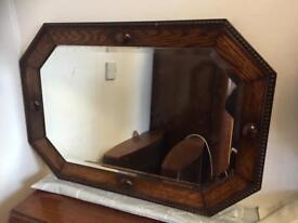 Vintage oak bobbin mirror 73x50cm