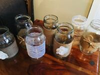 Hand decorated jars - perfect for wedding table centrepieces