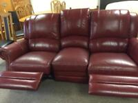 Red Leather 3 Seater Recliner Sofa