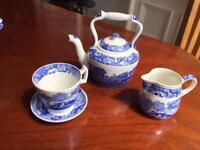 Miniature Copeland Spode Blue Italian Tea Set. Porcelain Tea Pot, Cup & Jug
