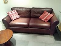 M&S brown leather Abbey large sofa