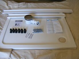 Unused 900mm Square Shower tray, Pivot door enclosure, side panel, waste & Riser kit