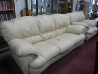 Cream, Leather 3 seater and Armchair