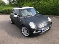AUTO 2002 mini cooper 1.6 PAN ROOF HEATED LEATHER LOW MILEAGE SERVICE HISTORY MATT BLACK s one