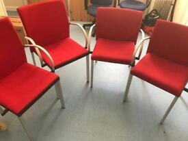 4 x Red Reception/Meeting Room Chairs