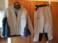 Mens Marks & Spencer ski/snowboarding jacket, trousers and Alpina Double Flex Ski goggles.
