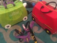 Trunki x2 in brilliant condition trunkisaurus Rex and frank the fire truck