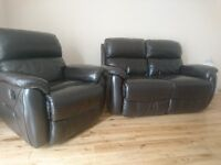 leather recliner brown two seater plus chair