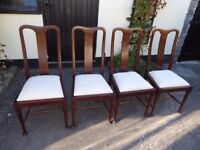 Set of 4 Antique Dining Chairs. Great condition. Seats recovered in quality material