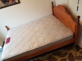 Double pine bed with good quality and comfortable AIRSPRUNG mattress.
