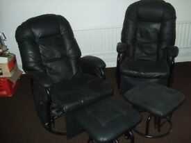 2 rocking and revolving leisure chairs and stools used for screen games. Good condition