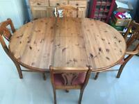 Solid Pine Extendable Table/Chairs