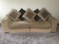 sofa and chair set in good condition, caramel and brown with machine washable cases
