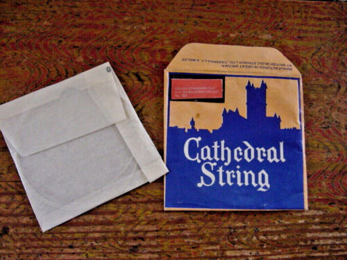 VINTAGE CATHEDRAL CELLO STRING SILVERED ON GUT G OR 3RD  NEW OLD STOCK 1950s