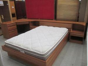Used Danish Veneer Double Size Bed Frame with Desk and Night Stands Set - Teak Face