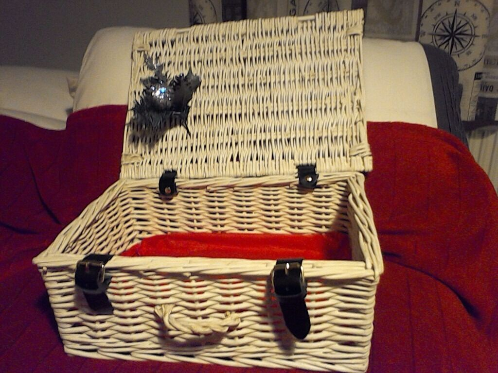White Wicker Basket Christmas Hamper Decoration In