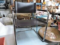 Habitat Leather and chrome chair