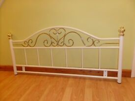 Metal Headboard for 4'6'' double bed in white and gold