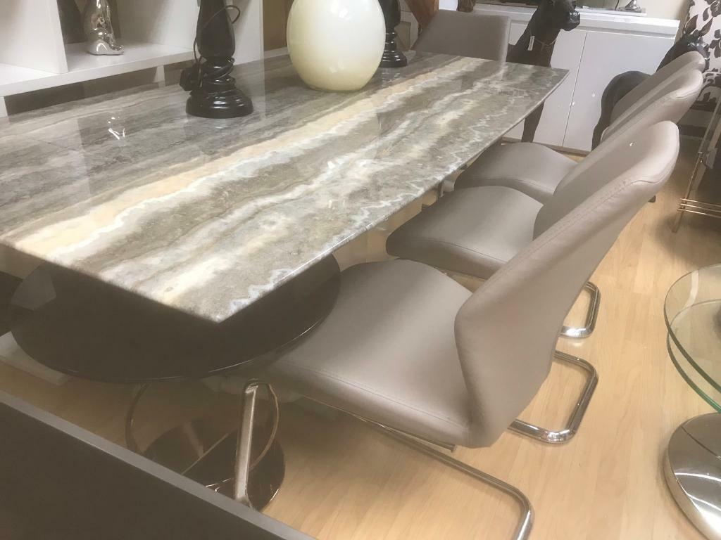 No Chairs Included Furniture Village Long Island Travertine Marble And Steel Extending Dining Table In Nottingham Nottinghamshire Gumtree