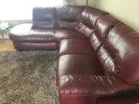 Leather Corner sofa & big swirl chair (DFS)