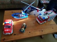 Playmobil Fire Engine, Fire Car, Fishing Boat and Police Helicopter