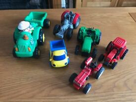A Bundle of 5 Toy Tractors, 1 Trailer, 1 Dumper / Pick Up Truck & 1 Person - GUC
