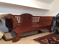 Indonesian wooden sofa/ daybed with carvings