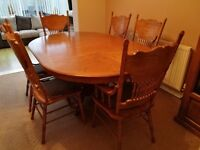 Dining Room Set - Antique Pine Extendable Table & 6 Chairs & 2 Display Cabinets