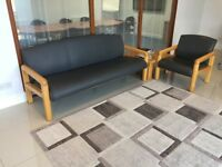 Reception Furniture consisting of 3 seater setee, chair and low table