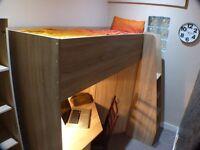 Single Room with Highsleeper bed, built-in Wardrobe, Drawers, Desk, Shelves, etc.