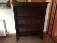 SOLID OAK BOOKCASE, MEASURES 126CM WIDE X 98CM TALL, GOOD CONDITION, DELIVERY AVAILABLE
