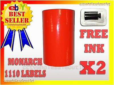 2 Sleeves Fluorescent Red Label For Monarch 1110 Pricing Gun 2 Sleeves32rolls