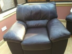 Leather chairs (2) -brown with oak feet