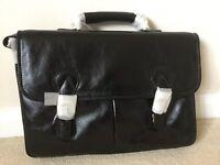 Men's black leather business case, unused