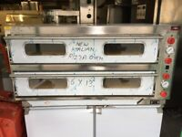 NEW LARGE DOUBLE DECK ELECTRIC ITALIAN PIZZA OVEN FAST FOOD CATERING SHOP