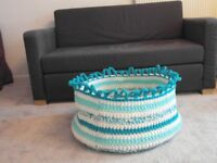 HANDMADE BY ME. GIANT HAND CROCHETED BASKET, ONLY £15 ( including yarn and labour time