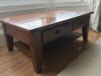 Beautiful mango wood coffee table with deep drawers
