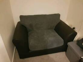Black and Grey cord cuddle sofa