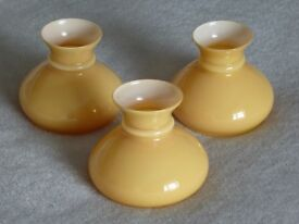 3 TRADITIONAL BUTTERSCOTCH COLOURED GLASS LIGHT SHADES/COWLS. FOR SUITABLE LIGHT FITTINGS OR LAMPS.