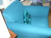 GREATLY REDUCED - ARMCHAIR - TEAL BLUE WITH MATCHING CUSHION -IMMACULATE