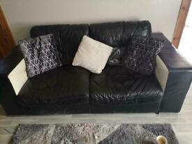 3 and 2 seater sofa in a black and white leather £199