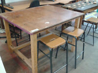 Large table with 4 stools