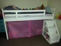 wooden cabin mid sleeper bed