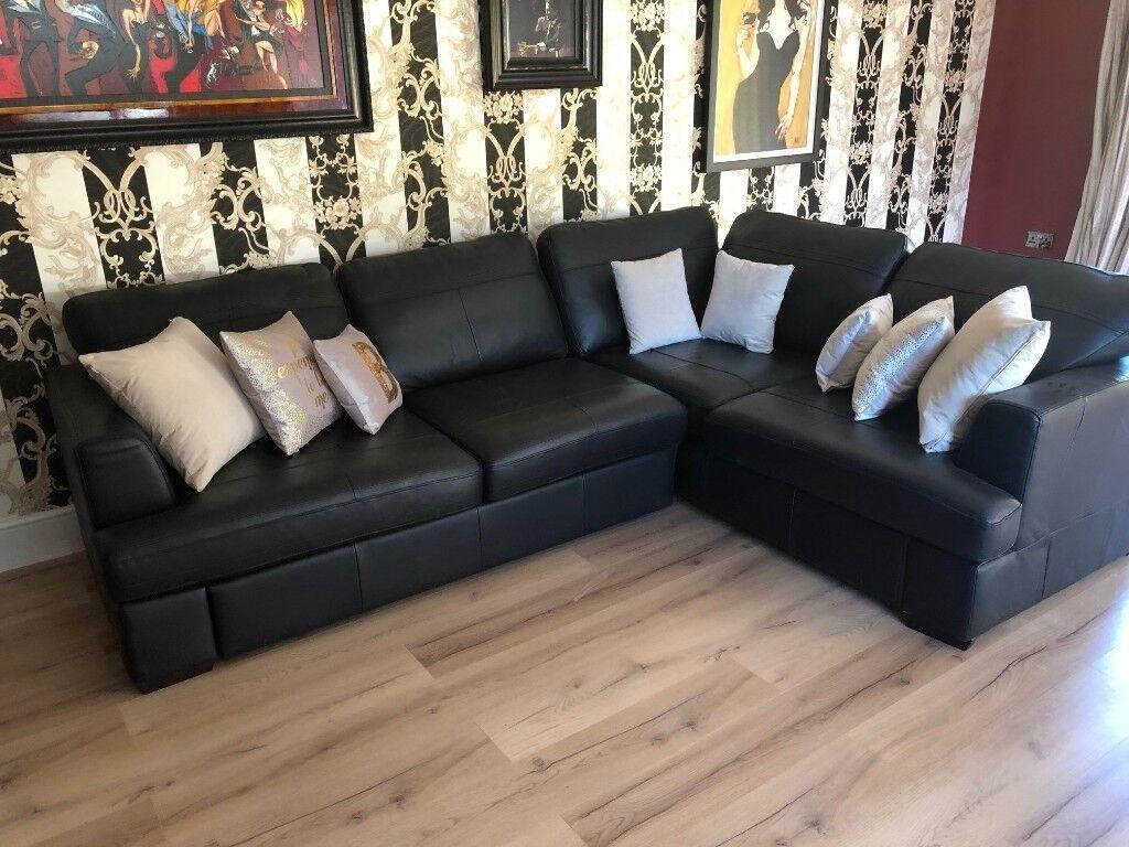 Dfs Black Leather Corner Sofa 2m X 2 8m Excellent